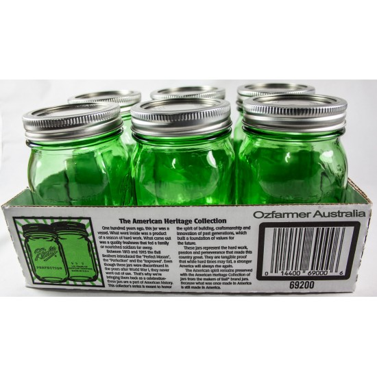 6 x Pint Green Heritage Collection Regular Mouth Jars Ball Mason