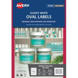 Avery Glossy White Oval Product Labels 80 Pack