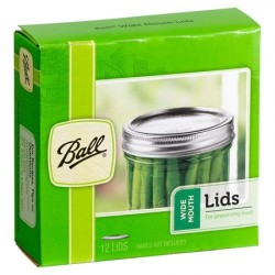 Box of 12 Lids (No Bands) Wide Mouth Ball Mason BPA Free