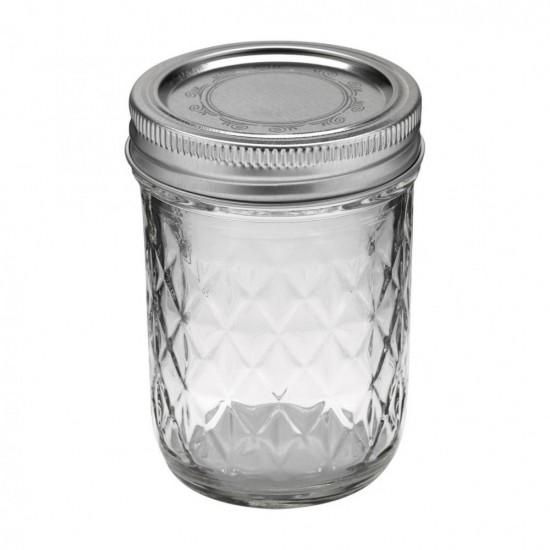 12 x 8oz (240ml) Quilted Jam Jars Ball Mason