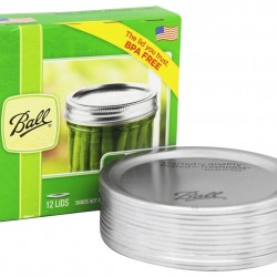 WIDE Mouth Lids (No Bands) BPA Free- Box of 12 LIMITED STOCK SEPTEMBER 2021