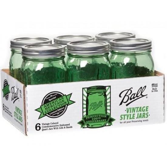 1 x US Quart 946ml Ball Mason Heritage Collection Green Jar - Single