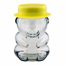 Novelty Teddy Bear Glass Jar complete with lid and yellow hat Imported