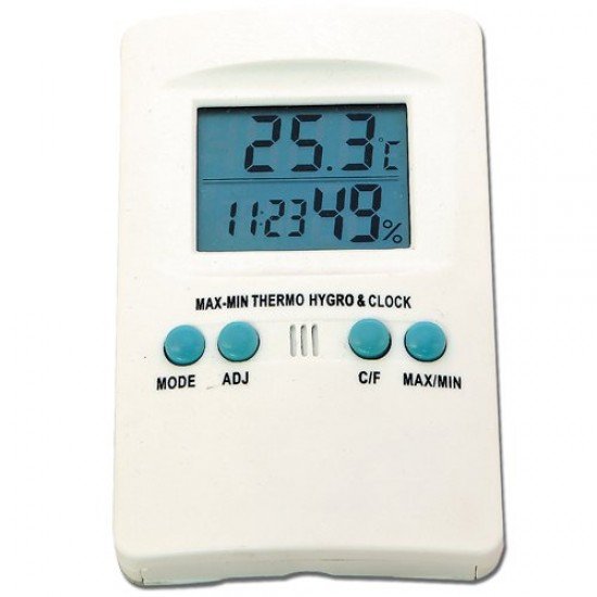 Outdoor Thermometer with Hygrometer and Clock - Digital