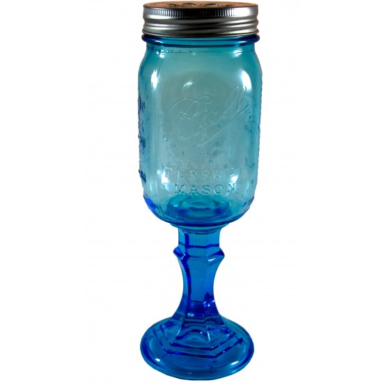 Pint Blue Redneck Style Ball Mason Wine Moonshine Jar