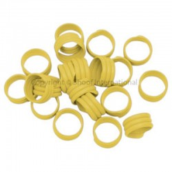 Poultry Leg Bands Plastic 16mm Yellow 20
