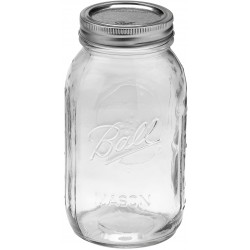 Quart REGULAR Mouth Glass Jar and BPA Free Lid Ball Mason - SINGLE