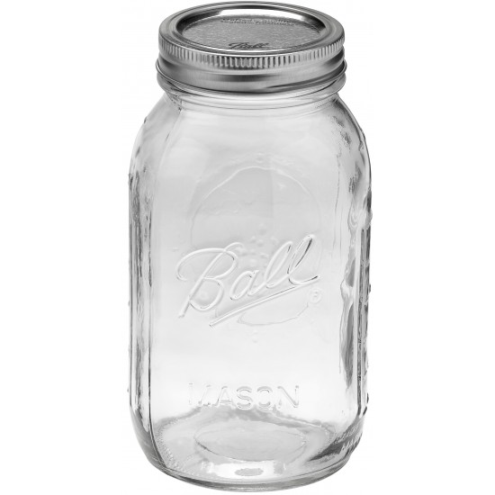 Quart Regular Mouth Glass Jar and BPA Free Lid Ball Mason - SINGLE