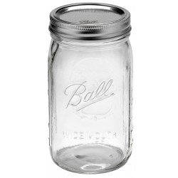 Quart Wide Mouth Glass Jar and BPA Free Lid Ball Mason - SINGLE